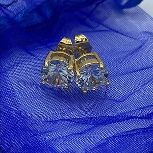 """New .25"""" Cubic Zirconia Round Gold Earrings"""